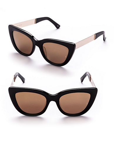 Sunday Somewhere Laura 54mm Cat-Eye Metal Sunglasses-BLACK/GOLD MIRROR-One Size