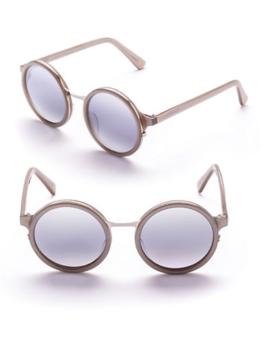 Sunday Somewhere Soleil 50mm Round Sunglasses-SILVER-One Size