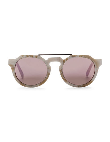 Sunday Somewhere Heeyeh 51MM Round Marble-Look Sunglasses-SAND-One Size