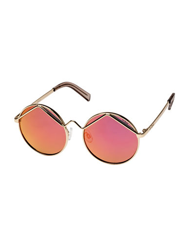Le Specs Wild Child 52mm Round Sunglasses-GOLD/PINK-One Size