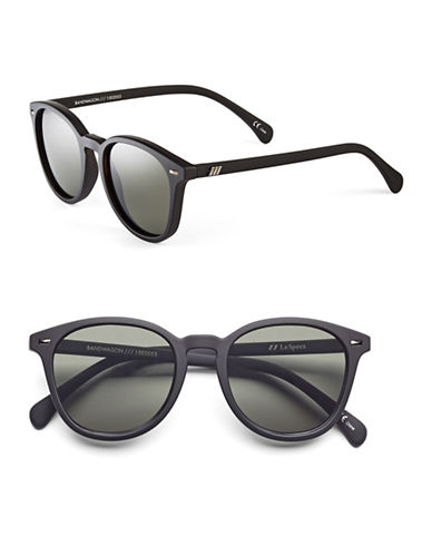 Le Specs Bandwagon 50mm Round Sunglasses-BLACK-One Size