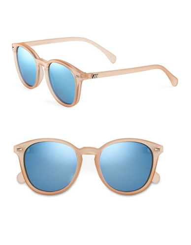 Le Specs Bandwagon 50mm Round Sunglasses-RAW SUGAR WITH BLUE MIRRRORED LENSES-One Size