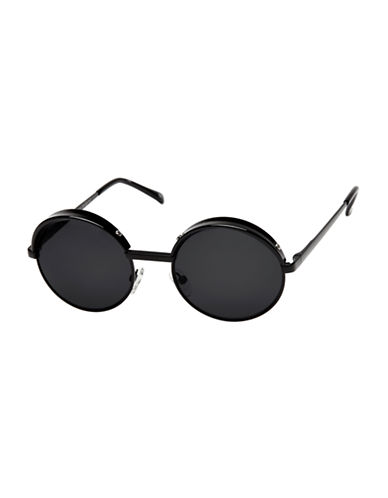 Le Specs Jester 51mm Round Sunglasses-BLACK-One Size