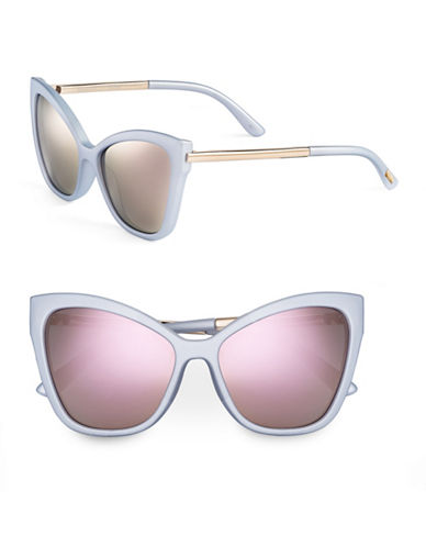 Le Specs Naked Eyes 70mm Cat-Eye Sunglasses-MATTE GLAVIER WITH PINK MIRRORED LENSES-One Size