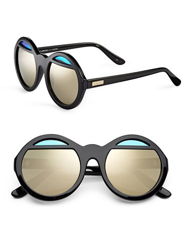 Le Specs Hall of Mirror 55mm Round Sunglasses-BLACK WITH GOLD MIRRORED LENSES-One Size