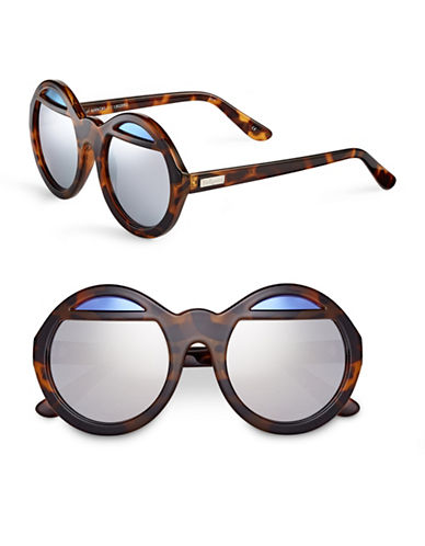 Le Specs Hall of Mirror 55mm Round Sunglasses-MILKY TORTOISE WITH SILVER MIRRORED LENSES-One Size