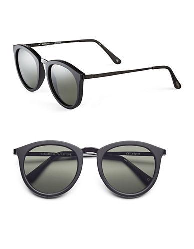 Le Specs No Smirking 60mm Round Sunglasses-BLACK-One Size