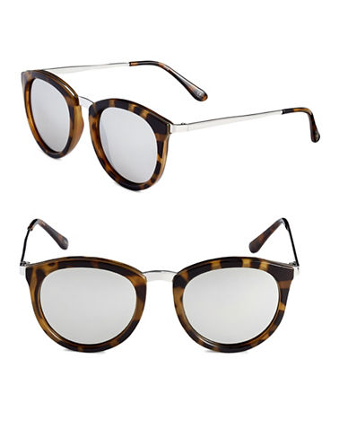 Le Specs No Smirking 60mm Round Sunglasses-TORTOISE-One Size