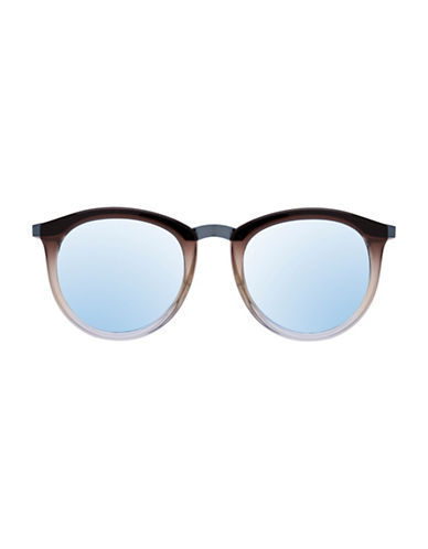Le Specs No Smirking 51mm Mirrored Round Sunglasses-BLUE-One Size