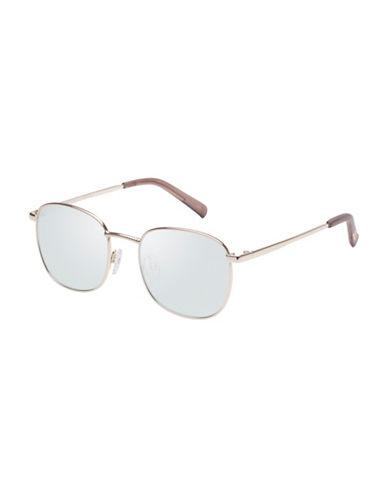 Le Specs Neptune 49mm Square Sunglasses-LIGHT GOLD-One Size