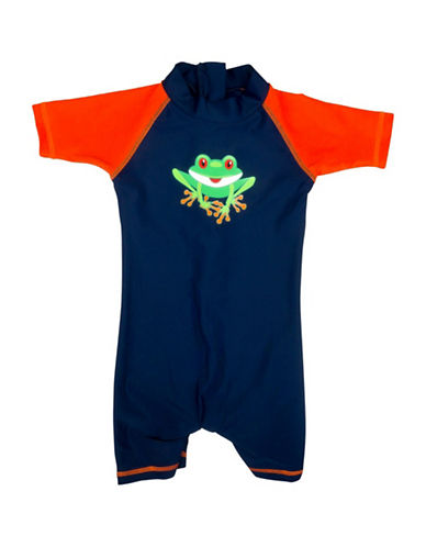 Banz Frog-Print One-Piece Swimsuit-BLUE-6-12 Months