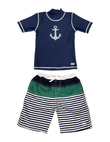 Banz Two-Piece Anchor-Print Rash Guard and Swim Shorts Set-BLUE-6-12 Months