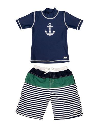 Banz Two-Piece Anchor-Print Rash Guard and Swim Shorts Set-BLUE-4