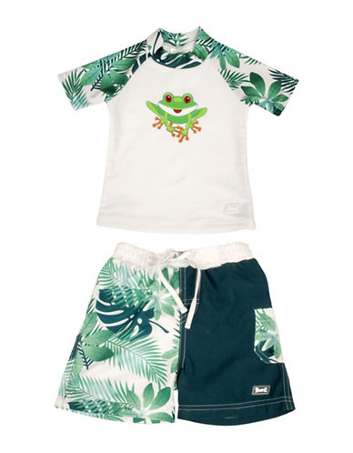 Banz Two-Piece Frog-Print Rash Guard and Swim Shorts Set-GREEN-6-12 Months