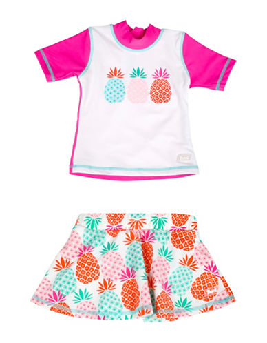 Banz Two-Piece Pineapple-Print Rash Guard and Swim Skirt Set-PINK-4