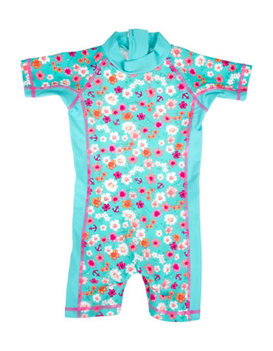 Banz One-Piece Floral and Anchor Print Swimsuit-BLUE-12-18 Months