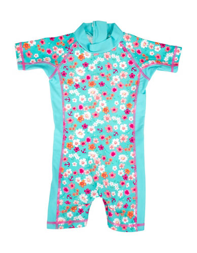 Banz One-Piece Floral and Anchor Print Swimsuit-BLUE-4