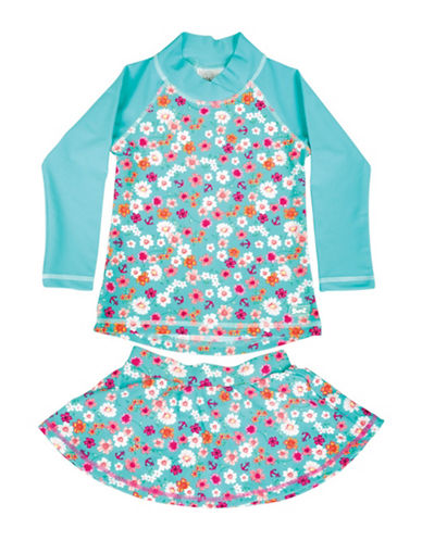 Banz Two-Piece Floral and Anchor Print Rash Guard and Swim Skirt Set-BLUE-6