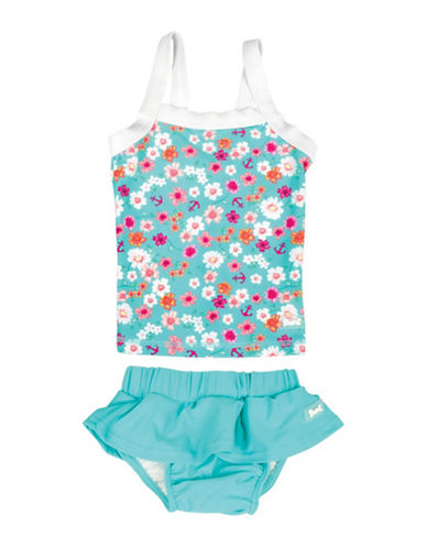 Banz Two-Piece Floral and Anchor Print Tankini Top and Skirted Swimsuit-BLUE-4