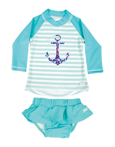 Banz Two-Piece Anchor Rash Guard and Swim Skirt Set-BLUE-6-12 Months