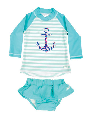 Banz Two-Piece Striped Anchor Rash Guard and Swim Skirt Set-BLUE-4