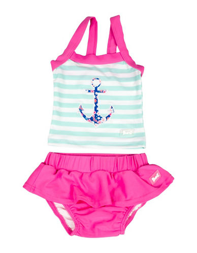 Banz Two-Piece Striped Anchor Tank and Swim Skirt Set-BLUE-4