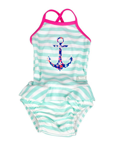Banz One-Piece Striped Floral Anchor Tankini Swimsuit-BLUE-4