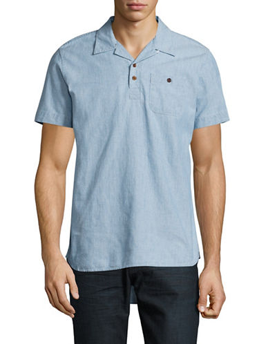 Deus Short Sleeve Stanley Chambray Shirt-BLUE-Large