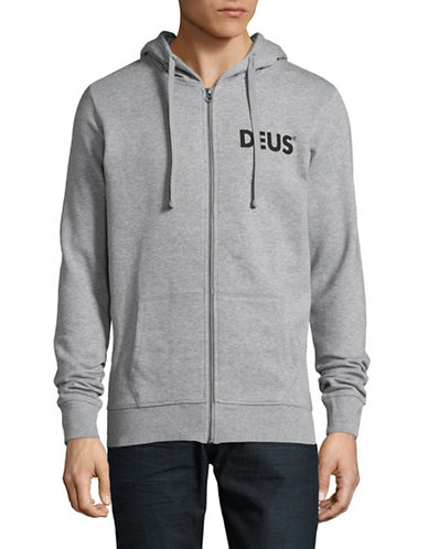 Deus Heathered Zip-Front Cotton Hoodie-GREY-Large 89404930_GREY_Large