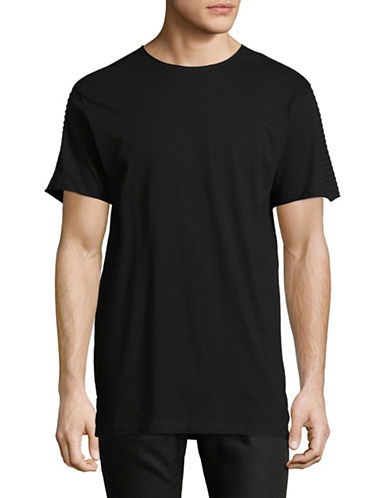 Nana Judy Cotton Pintuck Biker T-Shirt-BLACK-Large