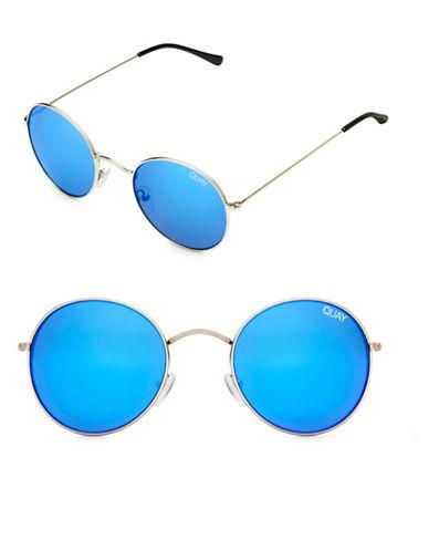 Quay Australia Modstar 50MM Round Sunglasses-SILVER/BLUE-One Size