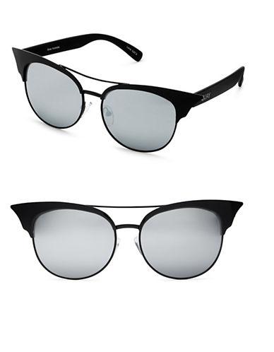 Quay Australia Zig 49MM Cat Eye Sunglasses-BLACK-One Size