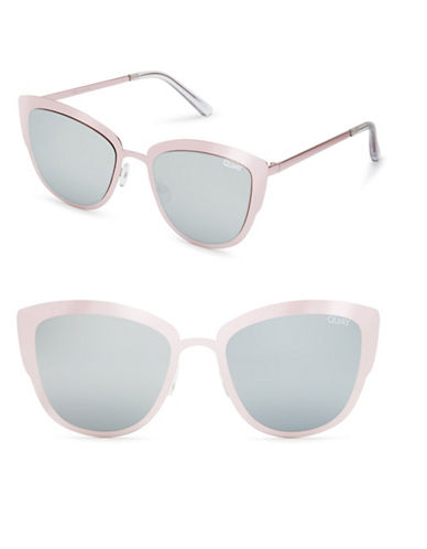 Quay Australia Supergirl 51MM Cat Eye Sunglasses-PINK/SILVER-One Size
