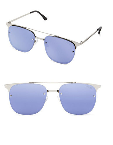 Quay Australia Private Eyes 49MM Winged Aviator Sunglasses-SILVER/VIOLET-One Size