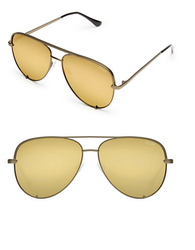 Quay Australia High Key 56MM Aviator Sunglasses-GREEN/GOLD-One Size