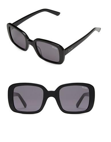 Quay Australia 20S 51MM Rectangular Sunglasses-BLACK/SMOKE-One Size