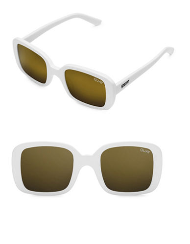 Quay Australia 20S 51MM Rectangular Sunglasses-WHITE/GOLD-One Size