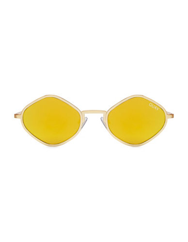 Quay Australia 43MM Kylie Angular Oval Sunglasses-GOLD-One Size