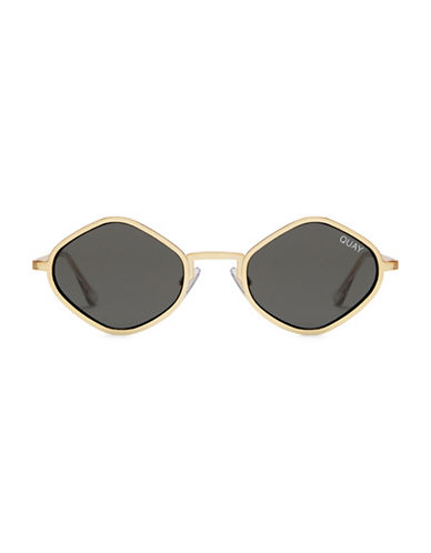 Quay Australia 43MM Kylie Angular Oval Sunglasses-GOLD/GREEN-One Size