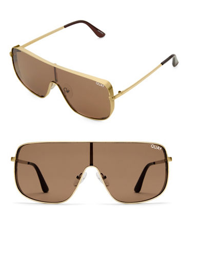 Quay Australia Unbothered 58MM Straight Aviator Sunglasses-GOLD/BRWN-One Size