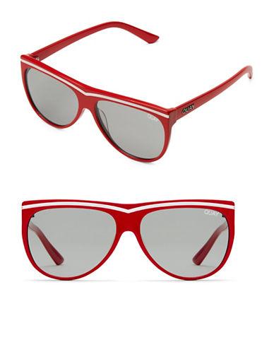 Quay Australia Hollywood Nights 56MM Straight Aviator Sunglasses-RED/SMOKE-One Size