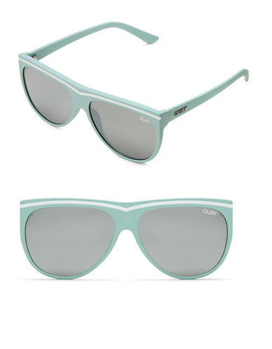 Quay Australia Hollywood Nights 56MM Straight Aviator Sunglasses-MINT/SILVER-One Size