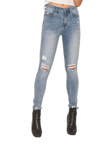 Neon Blonde Bombshell High Rise Skinny Jeans-DISTRESSED-27