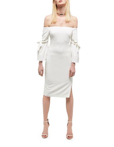 Bardot Tie Sleeve Dress-IVORY-Small