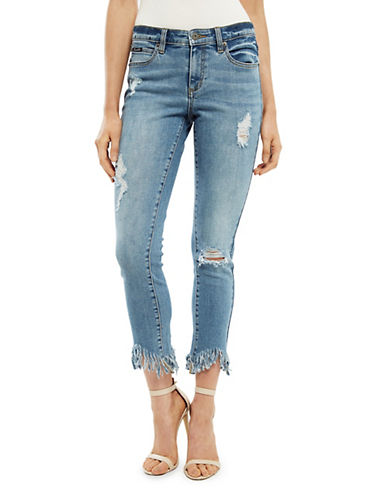 Bardot Fray Hem Five-Pocket Jeans-BLUE-Medium