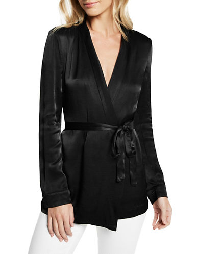 Bardot Satin Wrap Jacket-BLACK-X-Small 89610352_BLACK_X-Small
