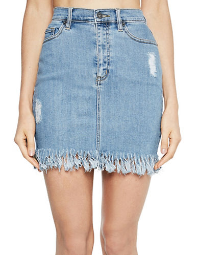 Bardot Fray Hem Mini Skirt-BLUE-Medium