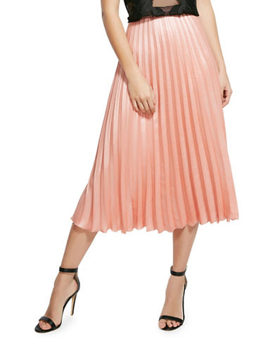 Bardot Shine Pleat A-Line Skirt-PINK-Medium
