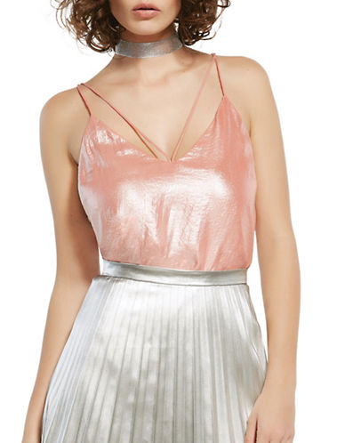 Bardot Strap Detail Iridescent Camisole-PINK-Small