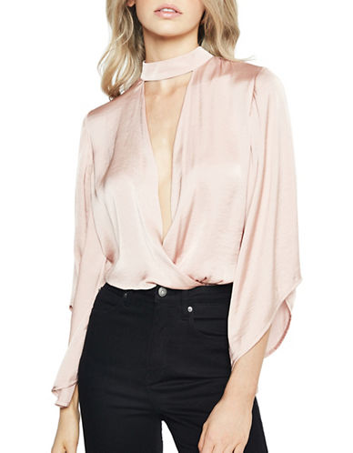 Bardot Satin Bell-Sleeve Choker Wrap Blouse-PINK-Small